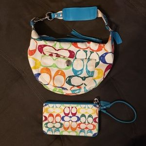 Coach Scribble Bag and Wristlet Set